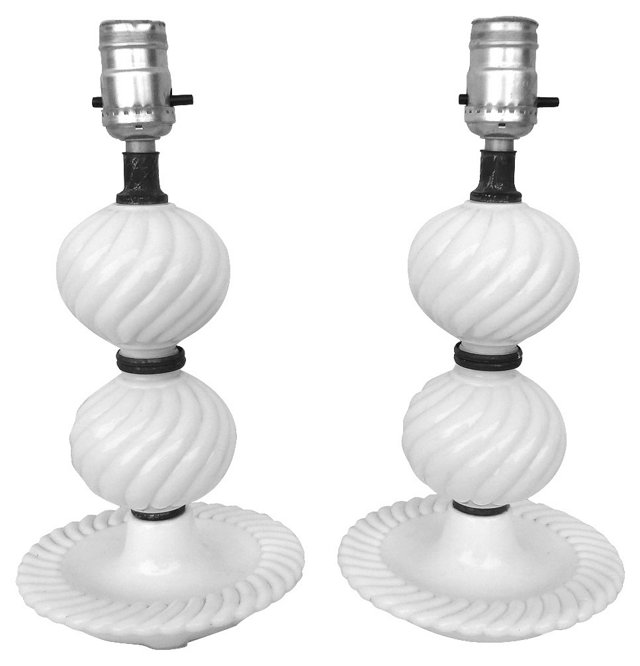 Milk   Glass  Lamps, Pair