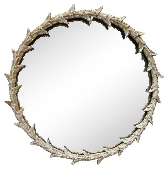 Round Swedish Leaf Mirror