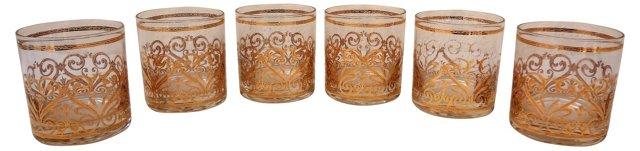 Old Fashioned Low Ball Glasses, S/6