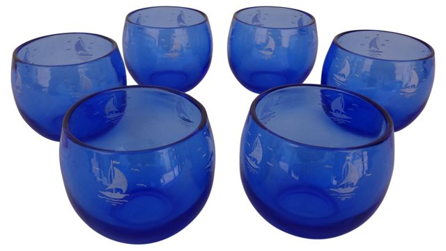 Roly-Poly Sailboat Glasses, S/6