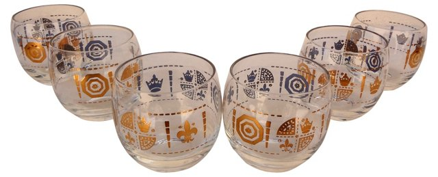 Gold Shield Roly-Poly Glasses, S/6