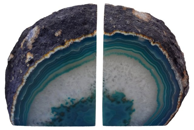 Blue-Banded Geode    Bookends