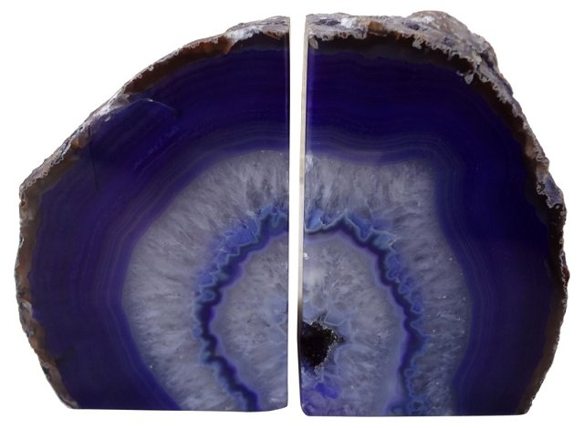 Purple Vein Geode  Bookends