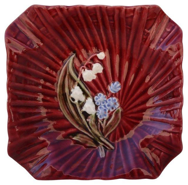 Burgundy Ceramic Ashtray