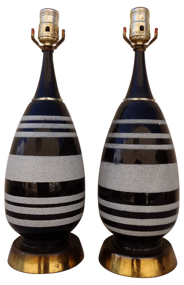 Black & White Lamps, Pair