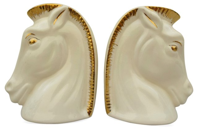 White & Gold Horse Bookends