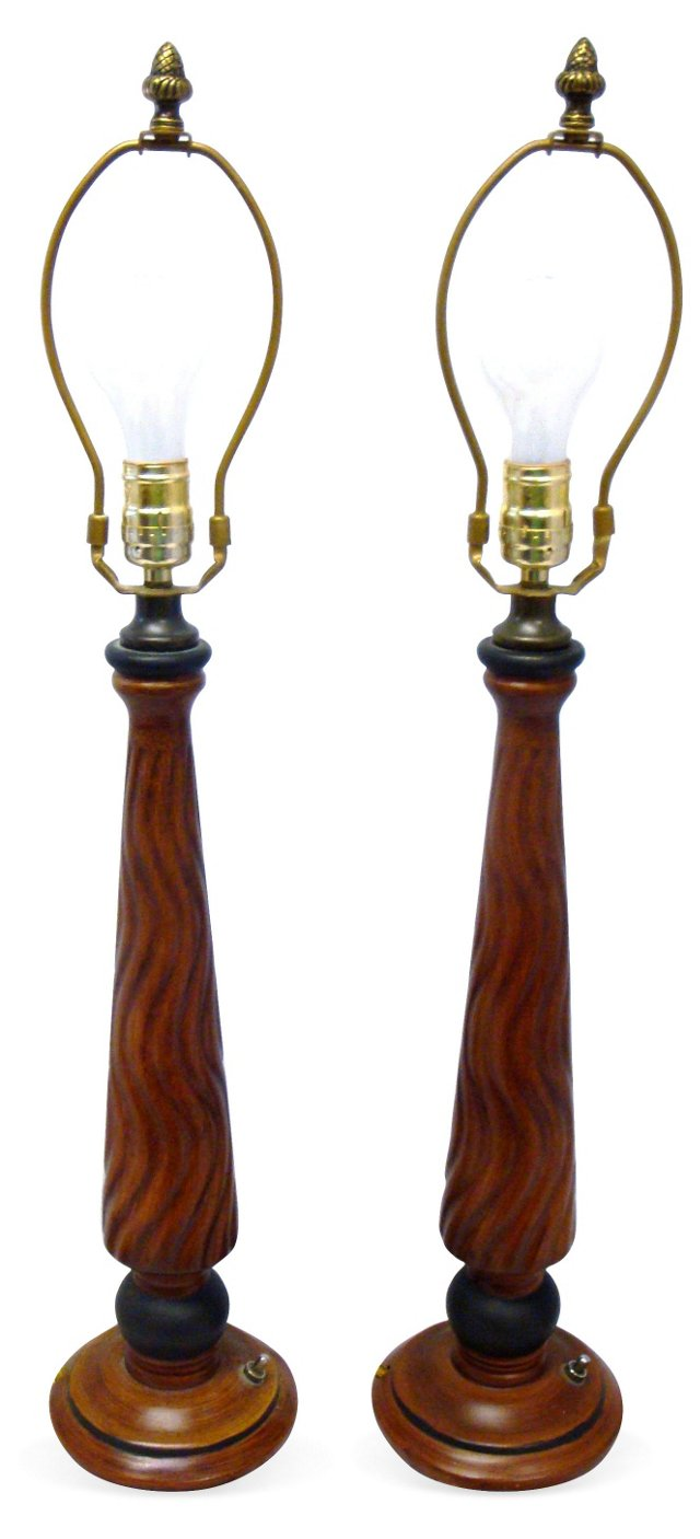 Brown Ceramic  Lamps, Pair