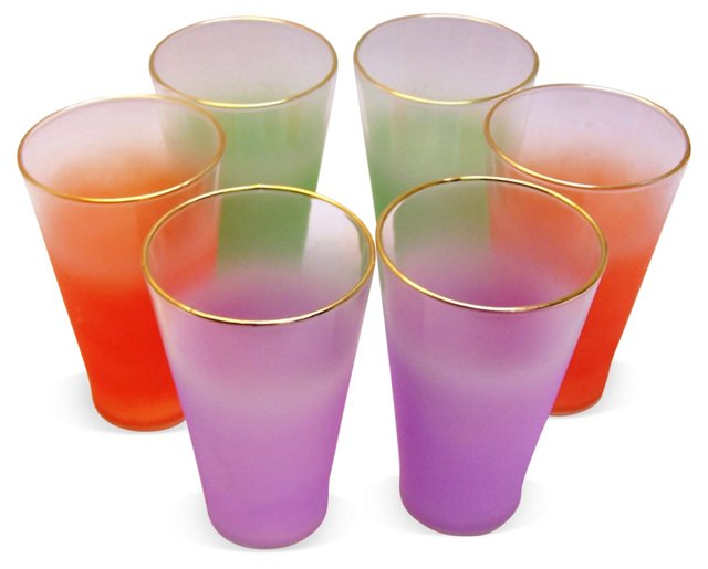 Ombré Frosted Cocktail Glasses, S/6