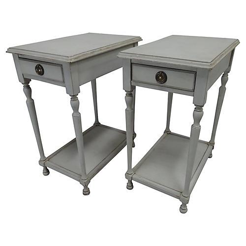 Swedish Gustavian-Style Side Tables, S/2
