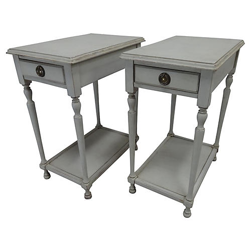 Swedish Gustavian-Style Side Tables, S/2