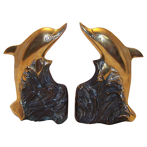 Brass Dolphin Bookends, Pair