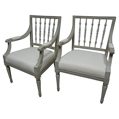 Swedish Gustavian-Style Armchairs, S/2