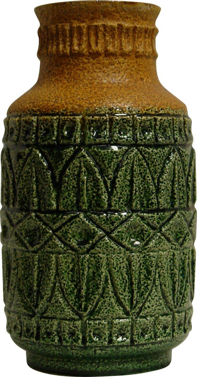 Green & Tan Ceramic Vase