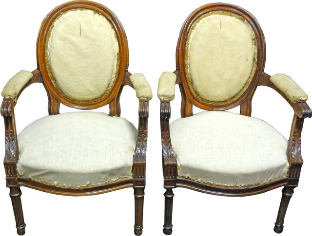 19th-C. Gustavian-Style Armchairs, Pair