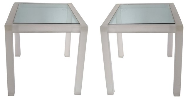 Frosted Lucite & Glass Side Tables, Pair