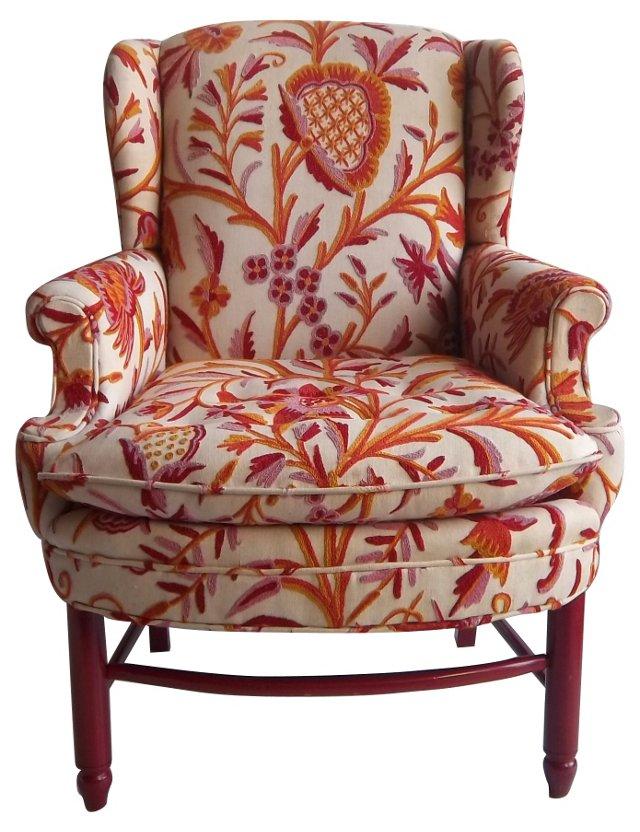 Wingback Chair w/ Raspberry Textile