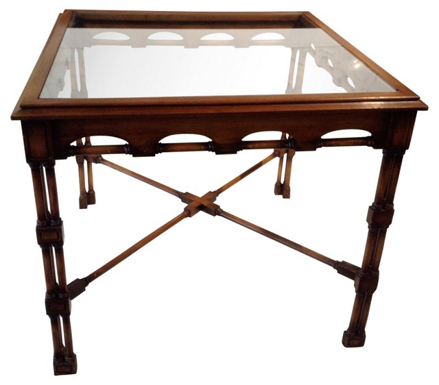 Iconic Faux-Bamboo Wood & Glass Table