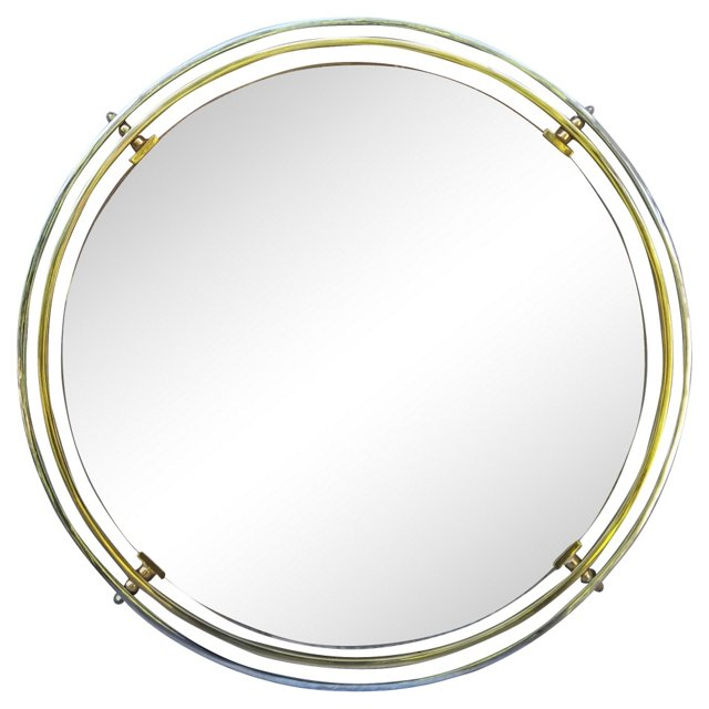 Brass & Chrome Italian Mirror