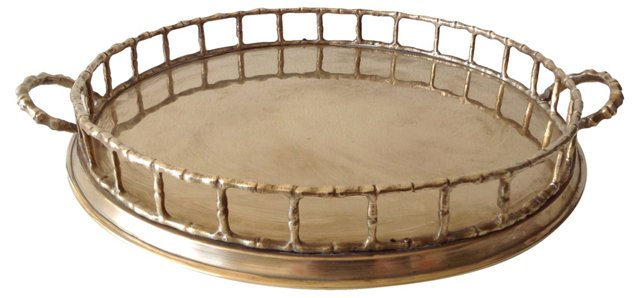 Brass Bamboo-Style  Gallery Tray