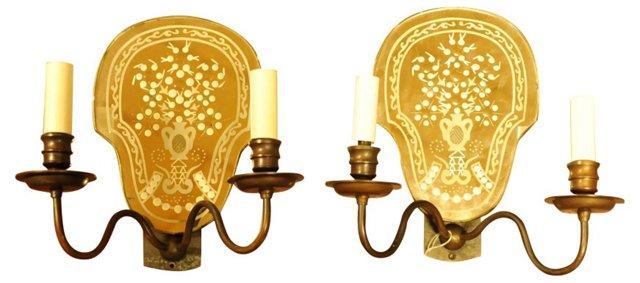 Bronze & Glass Sconces by Vaughn, Pair
