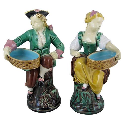 English Minton Figural Salt Cellars S/2