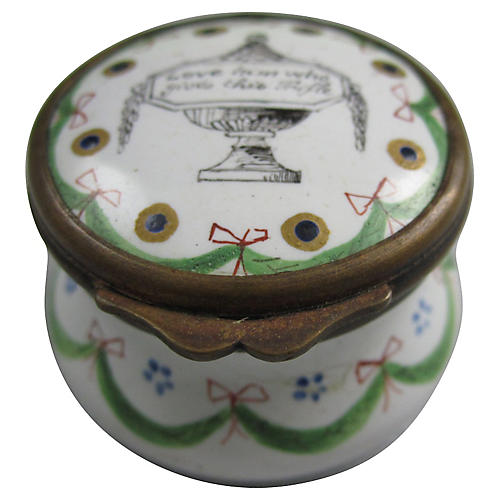 18th-C. Battersea Enamel Lover Snuff Box