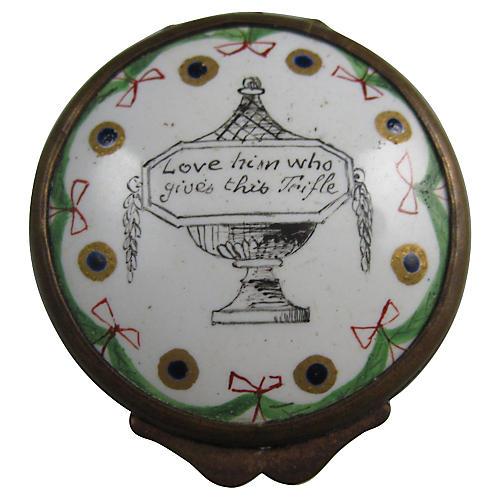 18th-C. Bilston Enamel Lovers Snuff Box