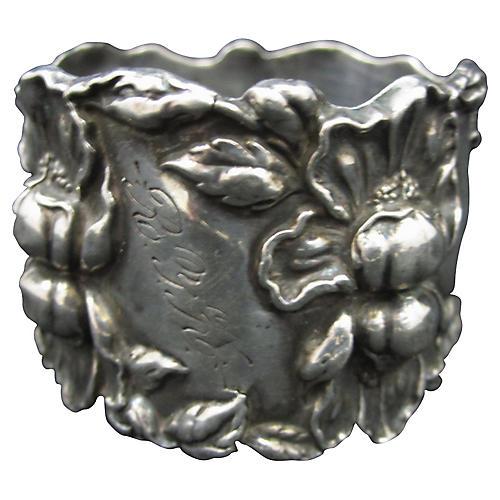 Sterling Silver Bearded Iris Napkin Ring