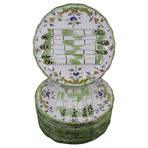 French Faïence Asparagus Plates, S/10