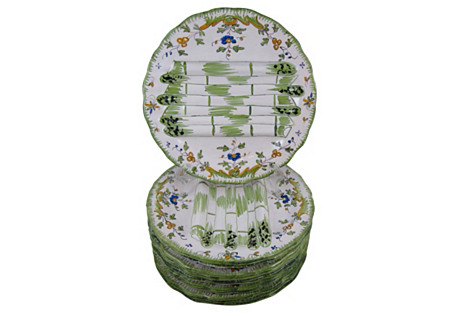 French Faience Asparagus Plates, S/10