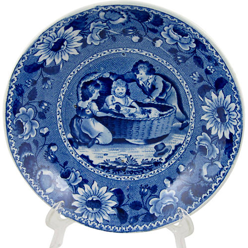 Clews Blue Transfer Bowl Dog in a Cradle