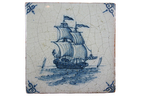 English Delft-Style Sailing Ship Tile