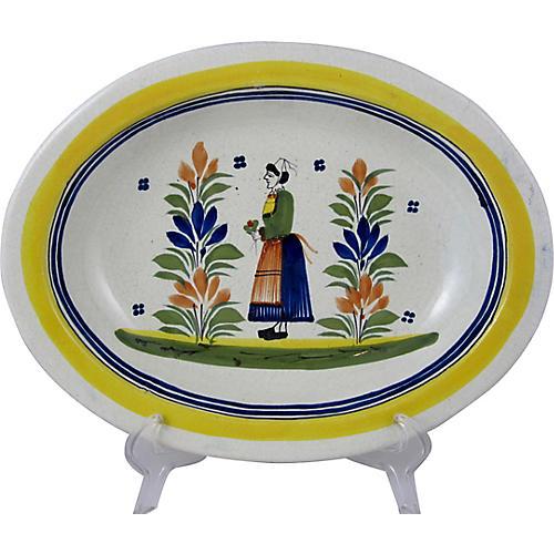 Quimper Femme Campagne Breton Oval Bowl