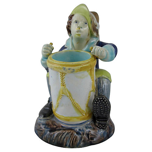 Majolica Drummer Boy Match Strike Holder