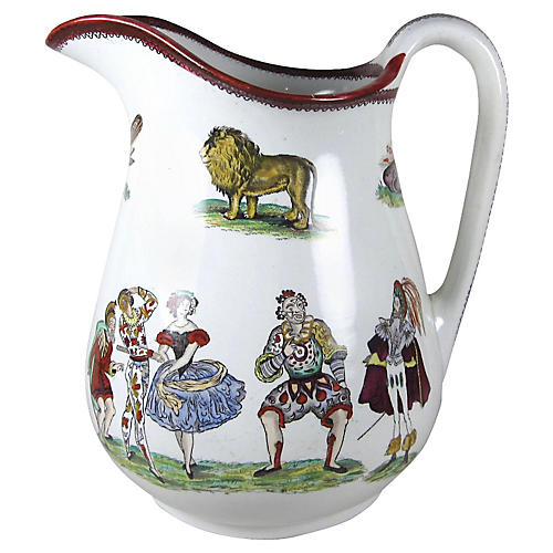 English Ironstone Large Harlequin Jug