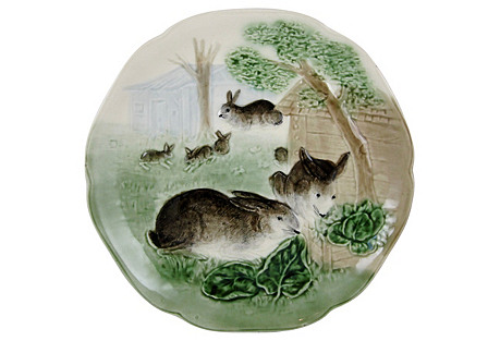 French Choisy Le Roi Rabbit Wall Plate