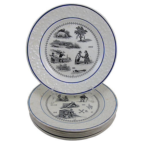 French Rebus Puzzle Dessert Plates, S/6