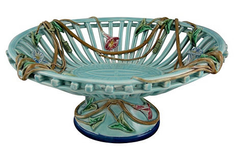 French Sarreguemines Ceramic Basket