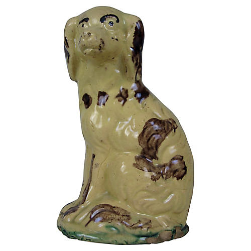 Primitive Yellowware Spaniel Dog Bank
