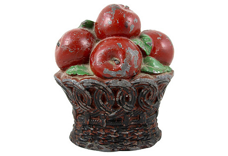 Primitive Lead Basket of Apples Doorstop