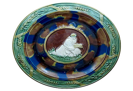 Monumental Majolica Harvest Wall Plaque