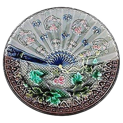 Majolica Asian Fan Wall Plate