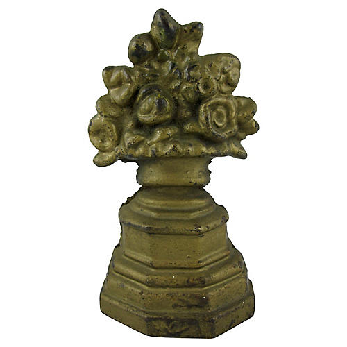 Cast Iron Petite Gilded Floral Doorstop