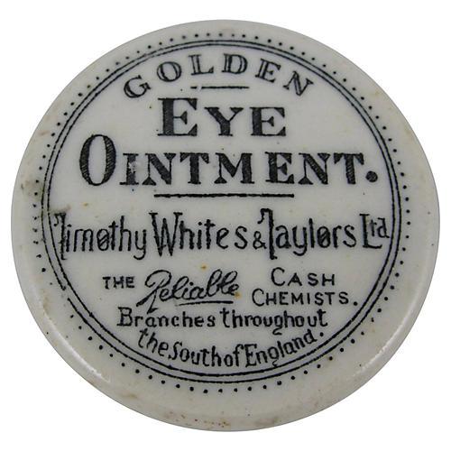 19th-C. Staffordshire Eye Ointment Pot
