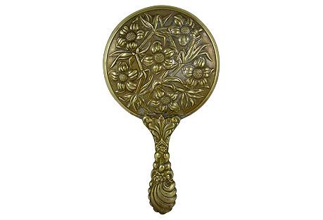 Victorian Floral Repousse Hand Mirror