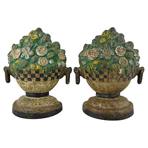 Cast Iron Floral Jardinieres, Pair