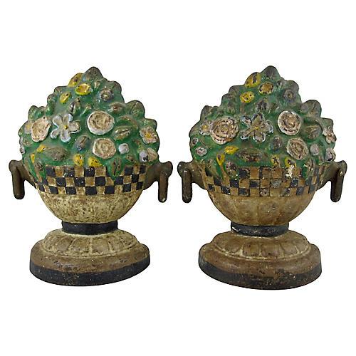 Cast Iron Floral Jardinieres, Pair