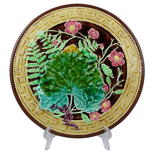 French Majolica Fern Plate