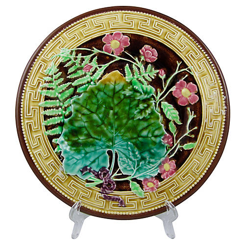 French Majolica Greek Key Fern Plate