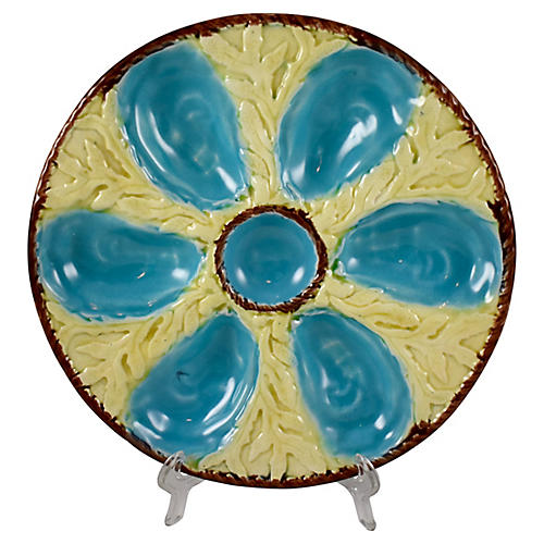 S. Fielding Majolica Oyster Plate